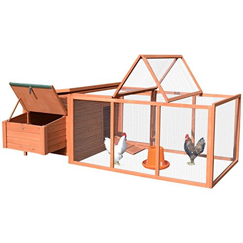 Cheap  Pawhut Deluxe Wooden Chicken Coop with Backyard Outdoor Run, 87