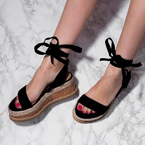 Schuhe schwarzem aus für POPPY Espadrille Gladiator Wildleder Damen SPYLOVEBUY Sandalen 8FnqW1Y