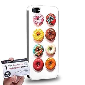 Case88 [Apple iPhone SE] 3D impresa Carcasa/Funda dura para & Tarjeta de garantía - Art Sweets Pattern Red and Cyan Donut Assorted