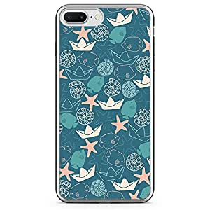 Loud Universe iPhone 7 Plus Transparent Edge Case - Paper Boat Star Fish And Sea Life Pattern