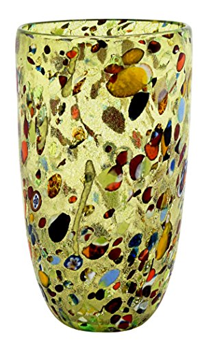 Murano Glass Gold Leaf Murrine Vase Decor Venice Made Italy