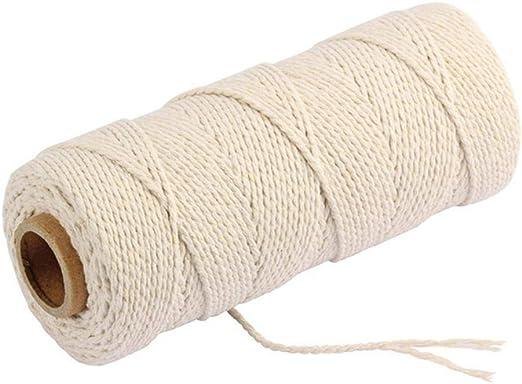 LLAAIT Cordones Trenzados de algodón Beige de 2.5 mm 150 Metros ...