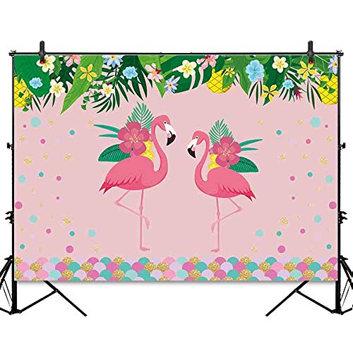 Allenjoy 7x5ft Tropical Flamingo Theme Pink Backdrop Green Leaves Colorful Flowers Dots Hawaiian Aloha Party Dessert Table Decoration Banner for Kids Children Girls Photo Shoot Background