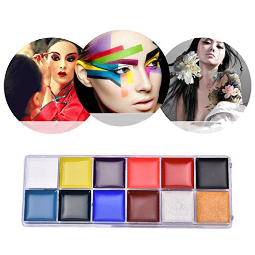 - Face Painting Kit, Aolvo Waterproof Face Paint Tray, 12 Color Professional Body Oil Paint Makeup for Cosplay, Halloween, Easter, Theme Parties, Performance, Safe for Kids and Adults (Pigment Only)