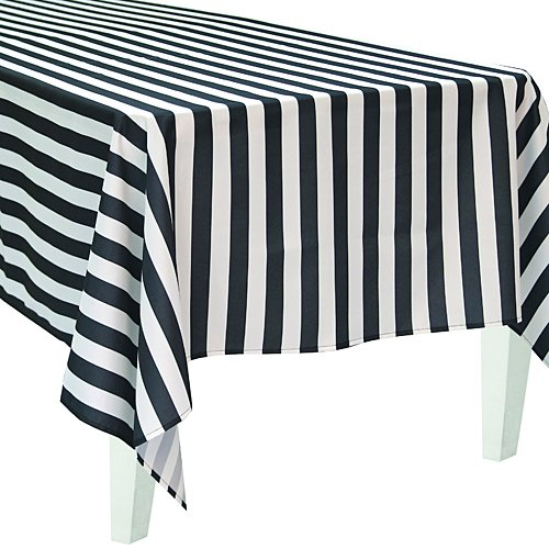 Polyester Black Striped Rectangle Table Cover Party Supplies Decorations]()