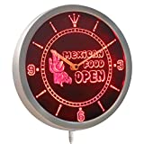 ADVPRO nc0273-r OPEN Mexican Food Cactu Bar Neon Sign LED Wall Clock