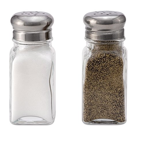(Glass Salt and Pepper Shakers - Set of 2- Stainless Steel Tops - 2 Ounce)