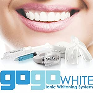 GOGO White is a revolutionary ionic teeth whitening kit that delivers PROFESSIONAL TEETH WHITENING RESULTS at home.*Visibly Whiter Teeth in Minutes*Custom Fit Teeth Whitening Trays *Powerful Teeth Whitening Light *Dental Grade Teeth Whitening Gel Mad...