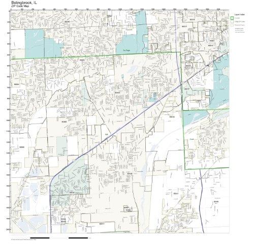 Amazon.com: ZIP Code Wall Map of Bolingbrook, IL ZIP Code Map