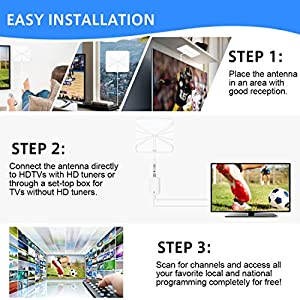 Leelbox HDTV Antenna 60 Mile Range Digital 4K/Full HD/Indoor Antenna with Detachable Amplifier Signal Booster and 16.5ft High Performance Coax Cable for free TV programme