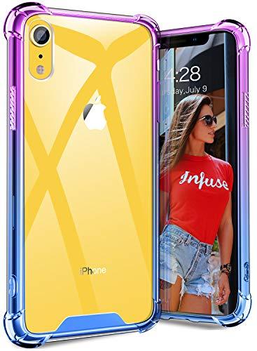 SANKMI iPhone XR Case, Clear Slim Thin Shockproof Soft TPU Bumper Cute Blue Women Girl Men Phone Cases Non Slip Scratch Resistant PC Hard Back Protective Case for iPhone XR 6.1Inch 2018 (Purple Blue)