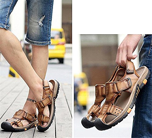 Walking XIE Closed Beach a Taglia Summer Antiscivolo traspiranti in EU40 Brown pelle Trekking Toe EU41 Sandali velcro vera uomo da Scivoli Outdoor 44 38 con BROWN Scarpe Walking rqwrOz