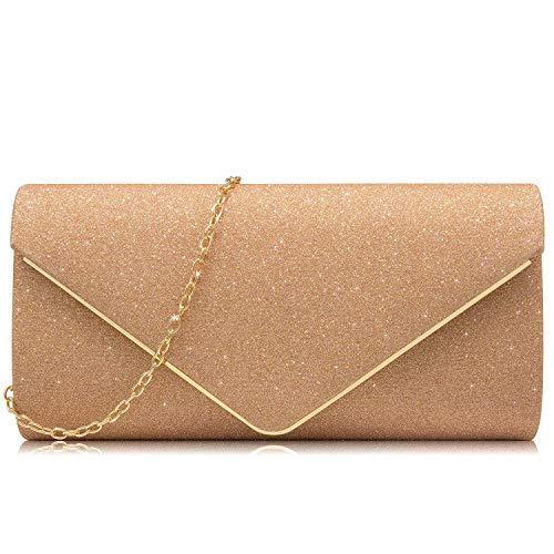 (Milisente Women Clutches Glitter Sequins Evening Bag Elegant Envelope Shoulder Bag(Champagne))
