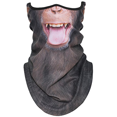 Funny Halloween Half Masks (AXBXCX Animal 3D Prints Neck Gaiter Warmer Half Face Mask Scarf Windproof Dust UV Sun Protection for Skiing Snowboarding Snowmobile Halloween Cosplay Funny)