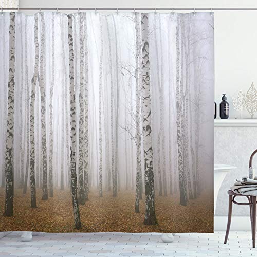 Ambesonne Farm House Decor Collection, Morning Mist in Autumn Birch Grove Flora Calm Serene Simple Nature Picture, Polyester Fabric Bathroom Shower Curtain, 75 Inches Long, Orange White Brown (Orange White And Curtain Shower)