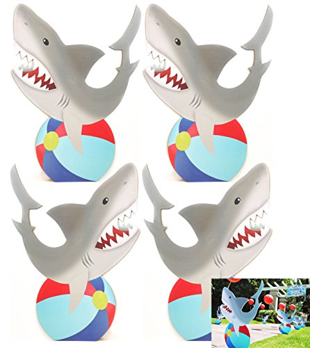 Shark Standees- Set of 4 - Pool Party Cutout Party Decoration