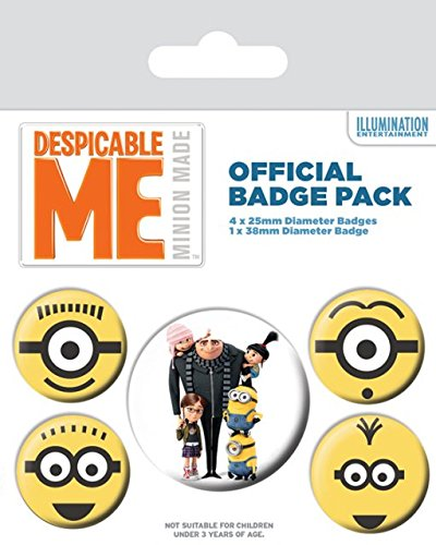 Despicable Me - 5 Piece Button / Pin / Badge Set (Gru & 4 Minions)