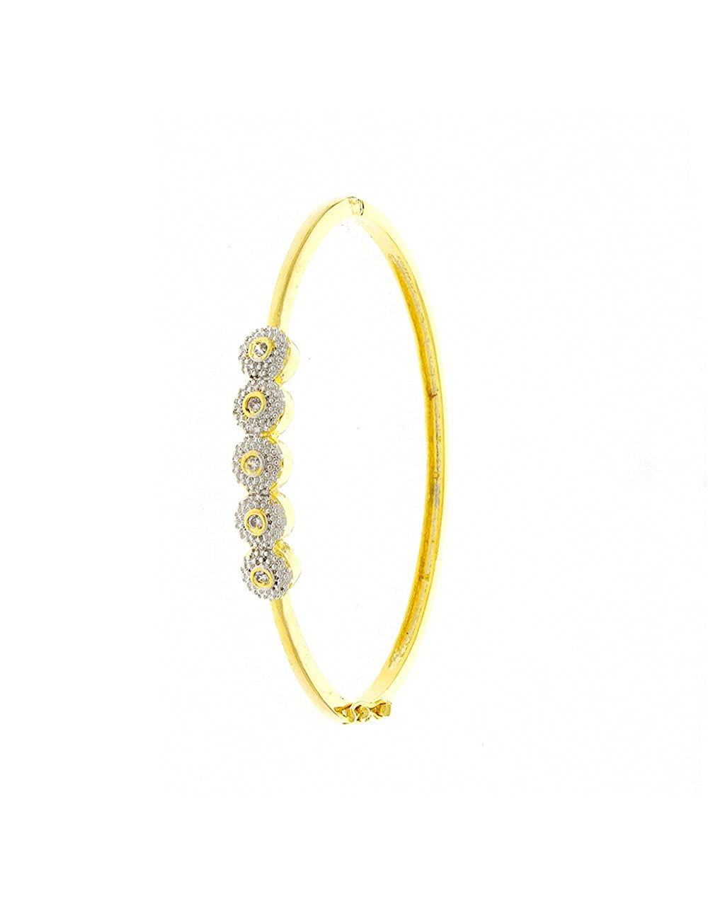 Anuradha Art Golden Finish Designer Very Classy Designer Shimmering American Diamonds Hand Bracelets//Kada for Women//Girls