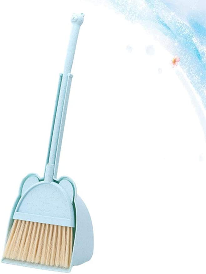 LIOOBO Children Broom Dustpan Set Detachable Bear Pattern Pretend Play House Cleaning Sweeping Toys Mini Housekeeping Play Props For Kids Toddlers Children Blue