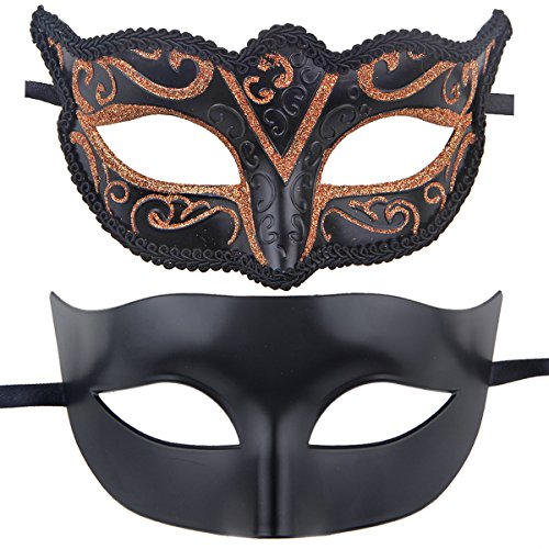 Couples Pair Half Venetian Masquerade Ball Masks Set Party Costume Accessory (GOLD) (Couple Themed Halloween Costumes)