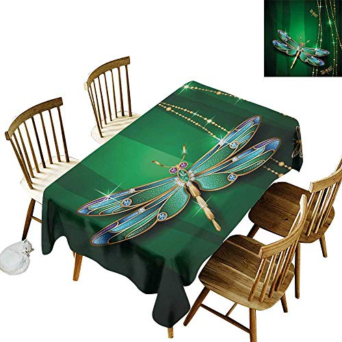 Cranekey Restaurant Rectangular Tablecloth W52 x L70 Dragonfly Vivid Figures in Gemstone Crystal Diamond Shapes Graphic Artsy Effects Gold Hunter Green Great for Outdoors & -