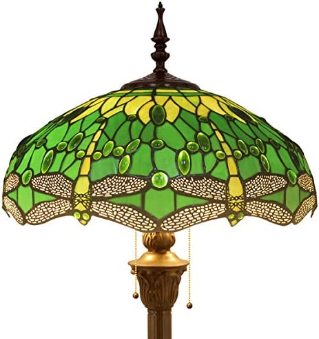 J Devlin Lam 589-2 TB Tiffany Stained Glass Mission Table Lamp Opalescent Multi Colors of Blue Amber Purple Green Accent Lighting Desk Bedroom