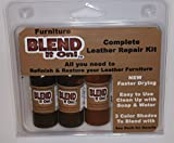 Blend It On Complete Leather Refinish, Restore, Recolor & Repair Kit / Now with 3 Color Shades to Blend with / Leather & Vinyl Refinish (Bold Brown)