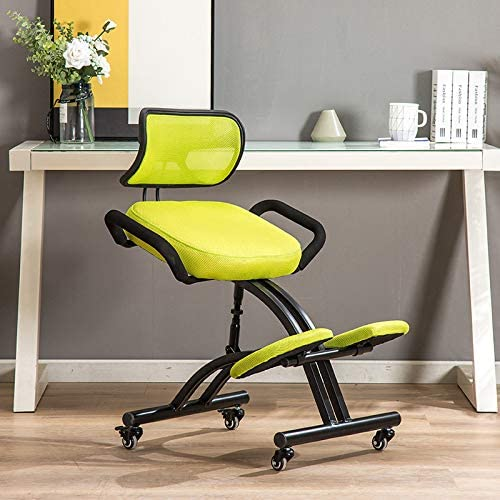 Amazon Com Ergonomic Kneeling Chair For Office And Home Knee Chairs Stool Comfortable Thick Cushion Orthopedic Back Pain Seat Adjustable Stool Height Black Green Mesh Kitchen Dining