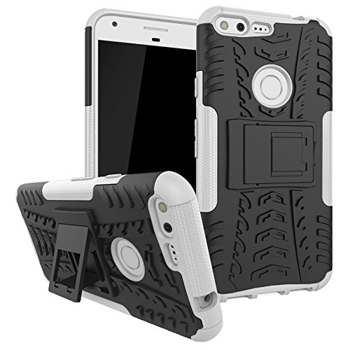 Price comparison product image Berry Accessory Google Pixel XL Case, Google Pixel XL Heavy Duty Protective Cover Dual Layer Hybrid Shockproof Protective Case with Kickstand Hard Phone Case Cover for Google Pixel XL 2016 White