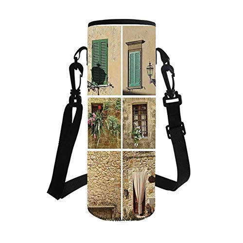 Tuscan Decor Stylish Bottle Sleeve,Various Pictures of Italian Lifestyle with Old Classic Shutter Window and Stone Houses Print for Bottle & Vacuum Cup,3.7''L x 3.7''W x 10.2''H