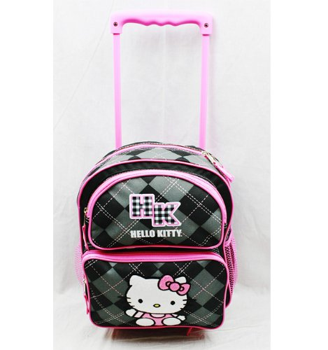 Small Rolling Backpack - Hello Kitty - Black Checker
