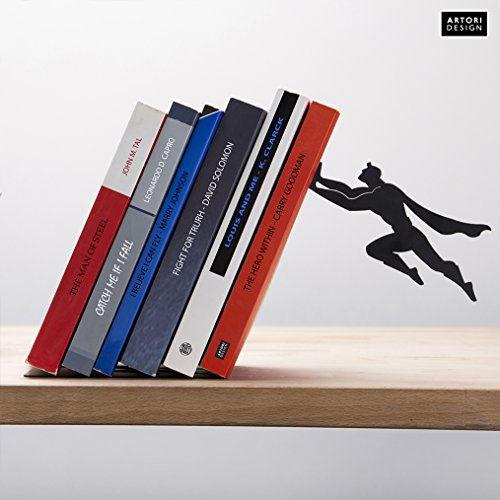 ARTORI Design | Book & Hero | Black Metal Superhero Book ends | Unique Bookends, Gifts for Geeks, Gifts for Book Lovers, Cool Book Stopper,, Gift for (Airplane Bookends)