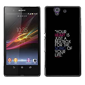 Sony Xperia Z / L36H / C6602 / C6603 / C6606 / C6616 , Radio-Star - Cáscara Funda Case Caso De Plástico (Your Heart Is A Beatbox)