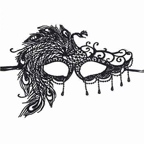 Mardi Gras Peacock (YiZYiF Vintage Sexy Lace Masquerade Masks Halloween Mardi Gras Party Mask Black Peacock Black One Size)