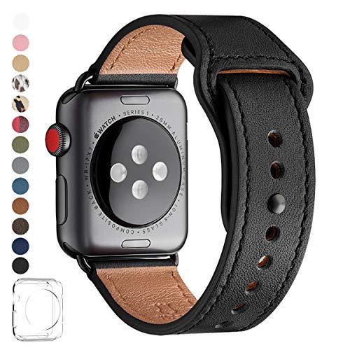 [해외]LOVLEOP 밴드 호환 Apple Watch 악대 42mm 44mm, 상위 가죽 교체 스트랩 호환 애플 감시 악대,를 위해 적당 한 iWatch Series5 Series4 Series3 Ser Ies2 Series1 (42mm 44mm 블랙 + 블랙 커넥터) / LOVLEOP Band Compatible Apple Watch Band 42mm ...