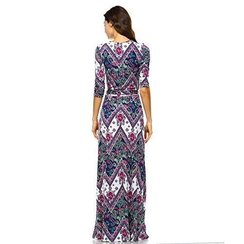 3614ee72c7 VIVICASTLE Women s Printed V-neck 3 4 Sleeve Wrap Waist Tie Long Maxi Dress