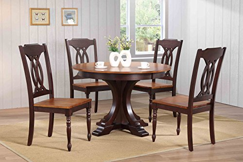 "Iconic Furniture 5 Piece Deco Traditional Back Dining Set, whiskey ocha, 45"" x 45"" x 63"""