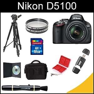 Nikon D5100 16.2MP CMOS Digital SLR Camera with 18-55mm f/3.5-5.6 AF-S DX VR Nikkor Zoom Lens (Black) with Tripod, 16gb SDHC Card, Wallet Card Case, Memory Card Reader, Lens Brush, Filters, DSLR Case, and Instructional DVD Kit
