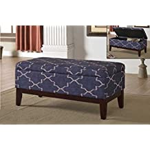 Linen Style Fabric Lounger & Storage Bench, Navy Blue Linen Fabric, Espresso Wood Legs