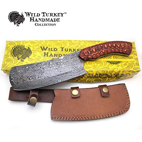 Wild Turkey Handmade Damascus Steel Collection Fixed Blade Chopper Knife w/Leather Sheath (Red)