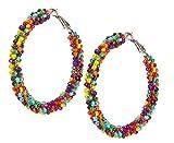 Multi-Color Seed Bead Hoop Earrings - Oversize Colorful Beaded Pierced Hoops