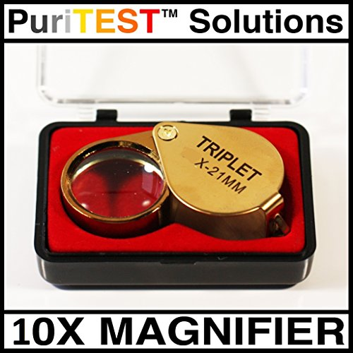 Holiday Gems Ruby - Black Friday Pricing New 10x Strength Gold Eye Loupe Perfect for Gem Collectors Diamond Emeralds Rubies Find Flaws Holiday Gift