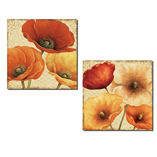 Gango Home Décor Gorgeous Red and Orange Blooming Flowers by Lisa Audit; Floral Decor; Two 12x12in Poster Print