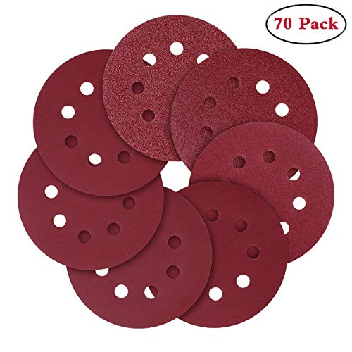 Sanding Pad Hook 8 Hole - Sanding Discs, 5-Inch 8-Hole Hook and Loop,40/80/120/240/320/600/800 Assorted Grits Sandpaper(70 Pack)
