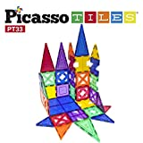 PicassoTiles 33 Piece Building Blocks 33pcs Educational Kit 3D Building Construction Toy Set Clear Magnetic Stacking Block STEM Playboard Magnet Felt Tiles Novelty Game, Creativity Beyond Imagination   CREATIVITY BEYOND IMAGINATION! INSPIRATIONAL -Fu...