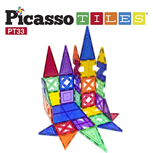 PicassoTiles 33 Piece Building Blocks 33pcs Educational Kit 3D Building Construction Toy Set Clear Magnetic Stacking Block STEM Playboard Magnet Felt Tiles Novelty Game, Creativity Beyond Imagination