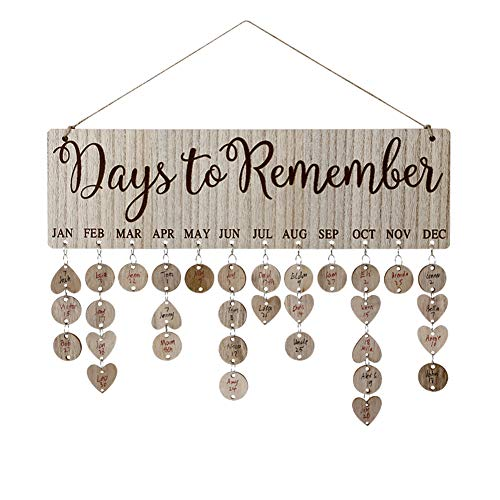 Joy-Leo Gifts for Moms Dads - Wooden Family Birthday Reminder Calendar Board [100 Wood Cutouts with Holes/Days to Remember Pattern ], Decorative Birthday Tracker Plaque Wall Hanging
