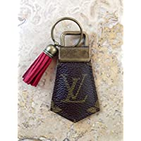 Handcrafted, re-purposed Louis Vuitton canvas key chain with tassel