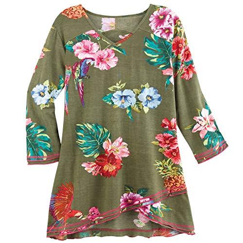 Parsley & Sage Women's Tropical Flower Print Tunic Top - Green 3/4 Sleeve V-Neck - Medium