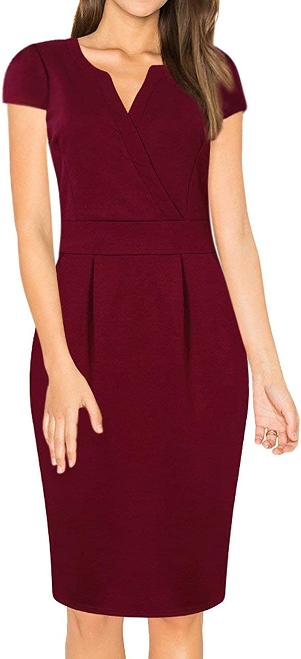HiQueen Women Vintage Office Work Business Party Bodycon Pencil Dress